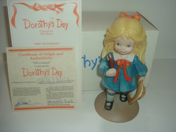 Dorothys Day Off To School Girl Figurine 1980's with Box COA