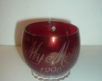 1890 Ruby Stain To My Mother Glass Cup