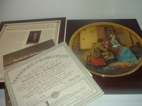 Norman Rockwell Portrait for a Bridegroom Rockwell Colonials Plate Box COA 1987 Edwin Knowles