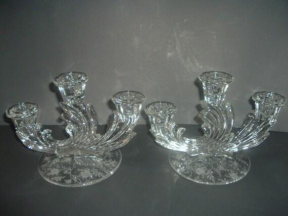 Pair Fostoria Chintz Triple Candleholders
