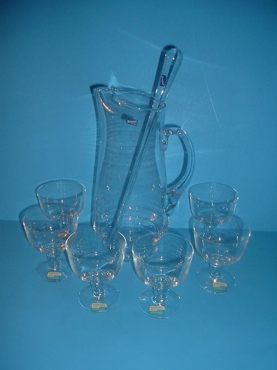 Bjorkshult Sweden Glass Pitcher & Stirrer + 6 Christian Wagner Glasses