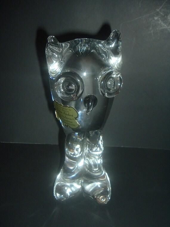 John Riekes Old Mexico Kristaluxus Lead Crystal Owl