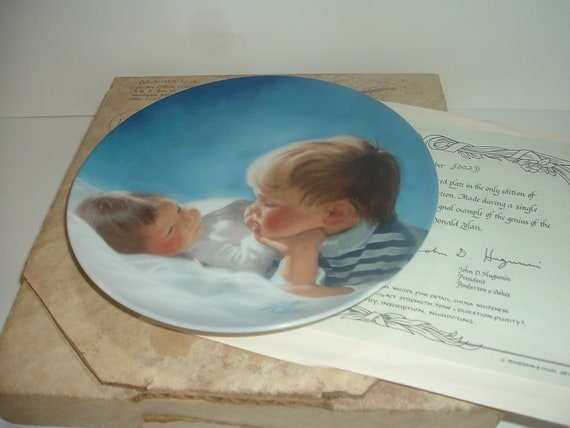 Pemberton Oakes Donald Zolan Brotherly Love first issue Special Moments Plate w Box COA