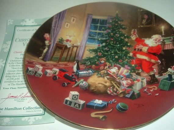 Christmas Eve Visitor Classic American Santas Hamilton Collection Plate w COA