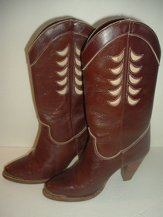 Zodiac Leather Boots Lady's Sz 6M Original Box Vintage Retro