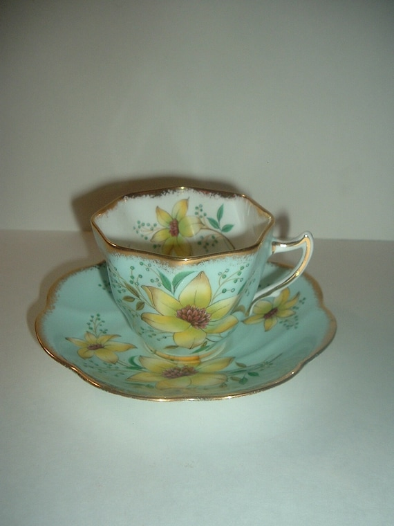 Clare England Cup and Saucer Bone China Blue Aqua Yellow Flowers