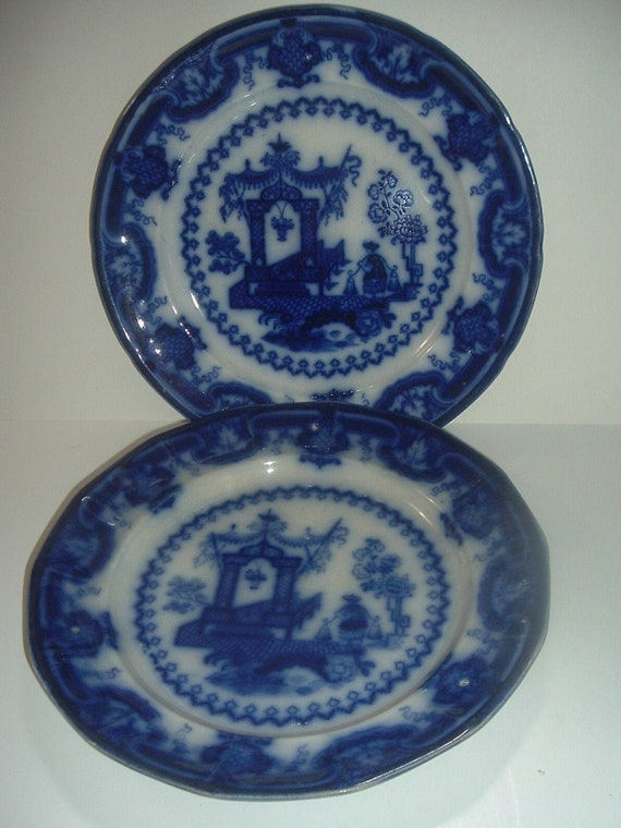 "2 Flow Blue TJ & J Mayer Longport Oregon Chinese Porcelain 9.75"" Plates Antique"