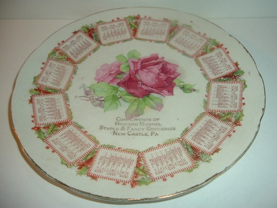 Advertising Calendar Plate 1909 Munnel Groceries Wm. Brunt Pottery East Liverpool Antique