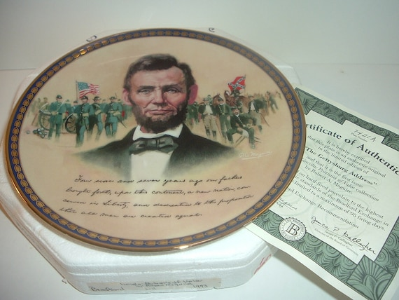President Abraham Lincoln Portraits of Valor Gettysburg Address 1st Issue Plate w Box and COA