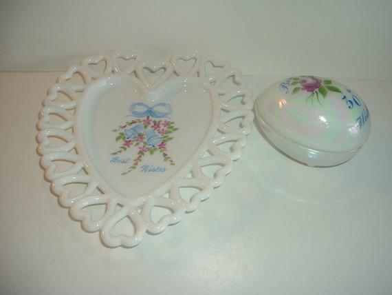 Westmoreland Glass Heart Dish & Egg Handpainted White  Iridescent