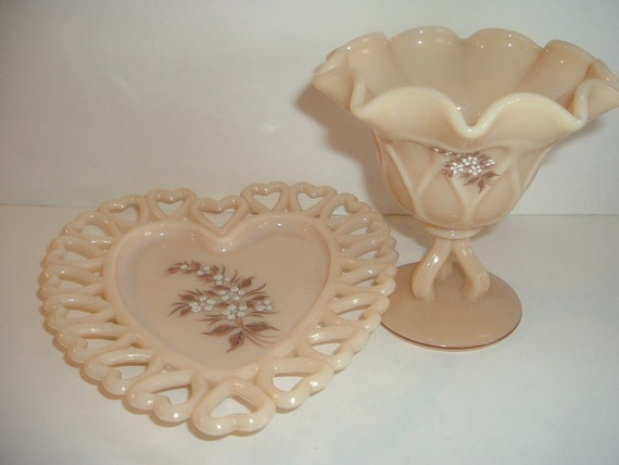 Westmoreland Glass Compote & Heart Dish White Flowers On Almond Hand Decorated