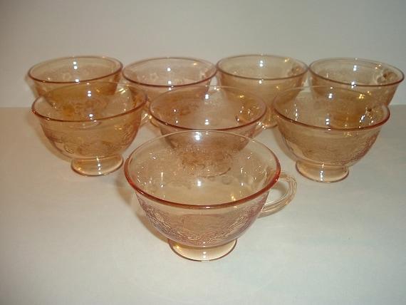 8 Fostoria Vesper Elegant Glass Floral pattern Cups