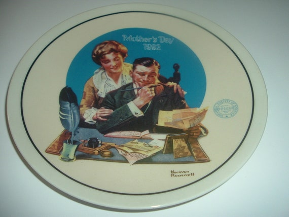Norman Rockwell Gentle Reassurance Mothers Day Plate 1992 Vintage