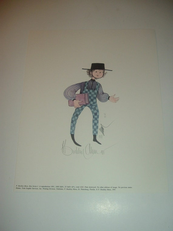 P. Buckley Moss Boy Series Print 152/1000 Pencil Signed Unframed
