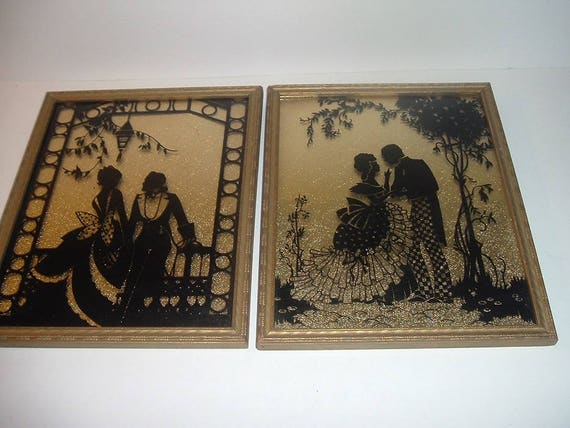Pair Vintage Courting Couple Reverse Painted Man and Lady Silhouette Plaques