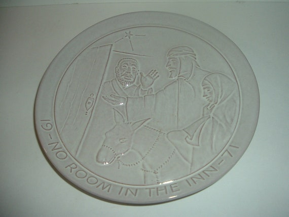 1971 Frankoma Pottery No Room In The Inn Christmas Plate