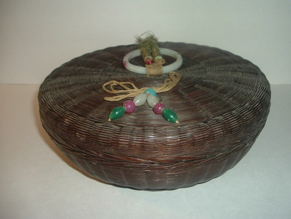 Sewing Basket Old Chinese Wicker with Rings Tassels Beads