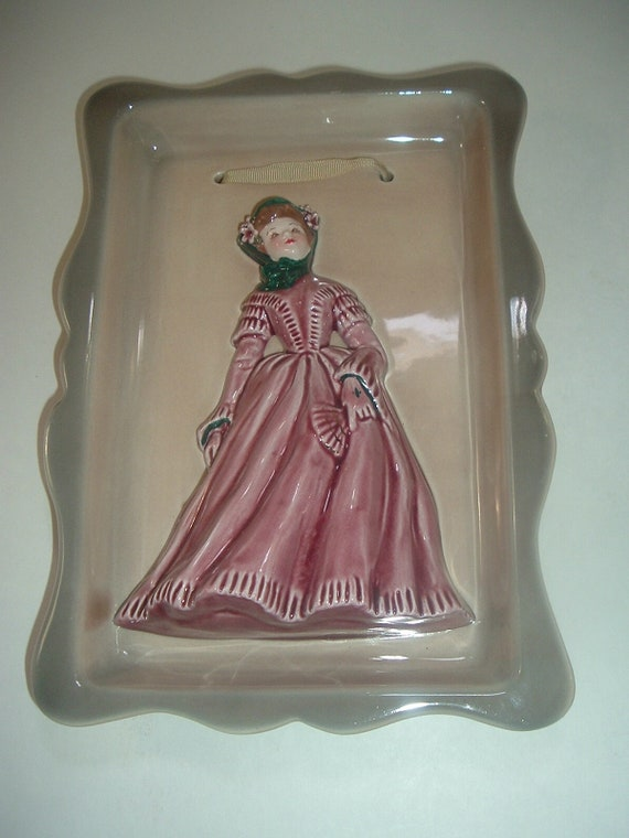 Florence Ceramics Framed Lady Figurine Plaque Rose Colored Dress