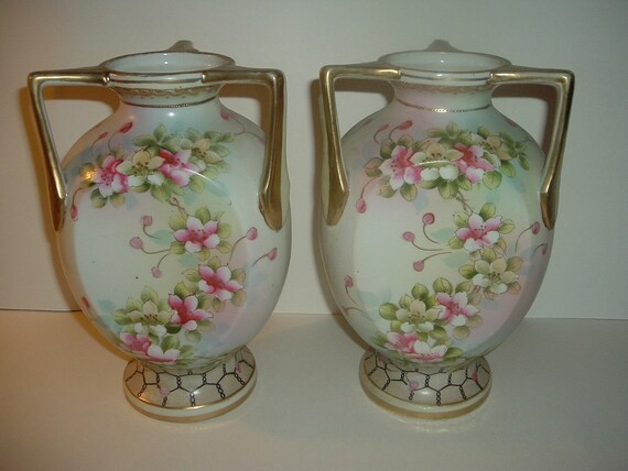 Imperial Nippon Handpainted Vases Big Pair Vintage
