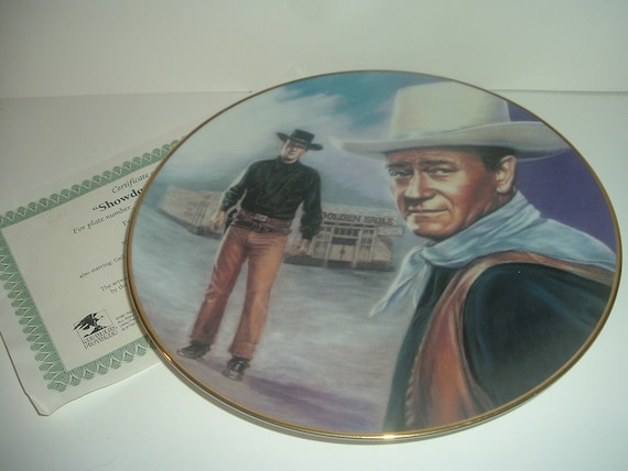John Wayne Angel and Badman Showdown with Laredo Plate Republic Pictures w COA 1992