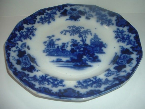 "Flow Blue Scinde Oriental Stone 10"" Plate Antique"