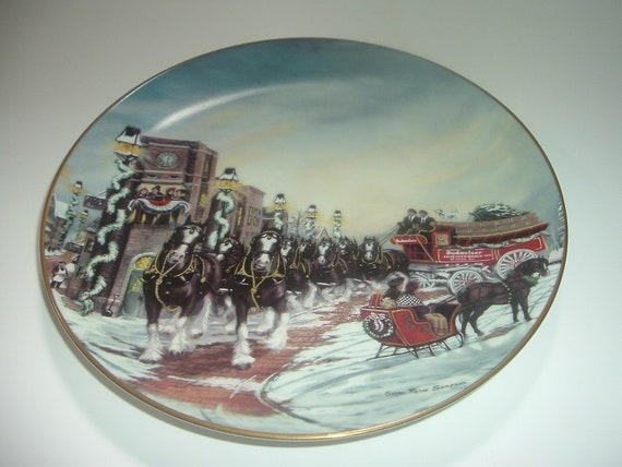 Budweiser Clydesdales Perfect Christmas Plate 1992