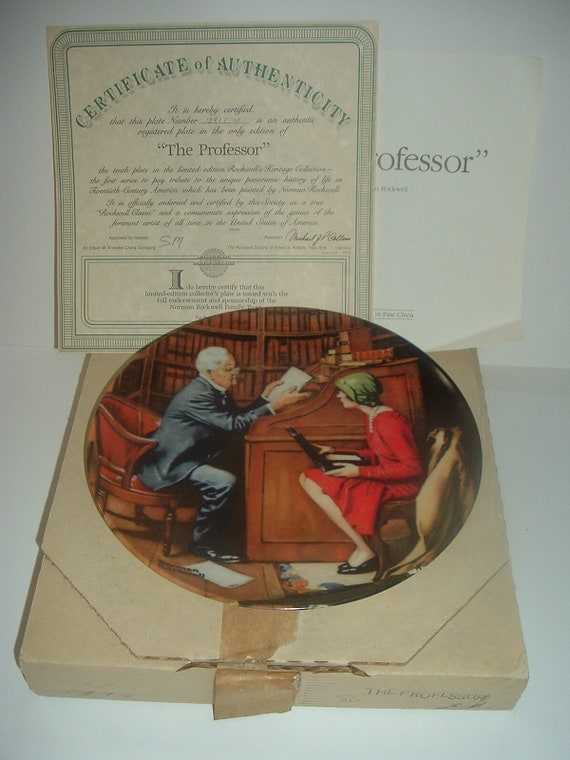 Norman Rockwell The Professor Plate Heritage Collection 1985 w/ Box & COA