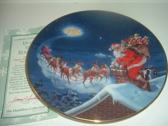 Up On The Rooftop Classic American Santas Hamilton Collection Plate w COA