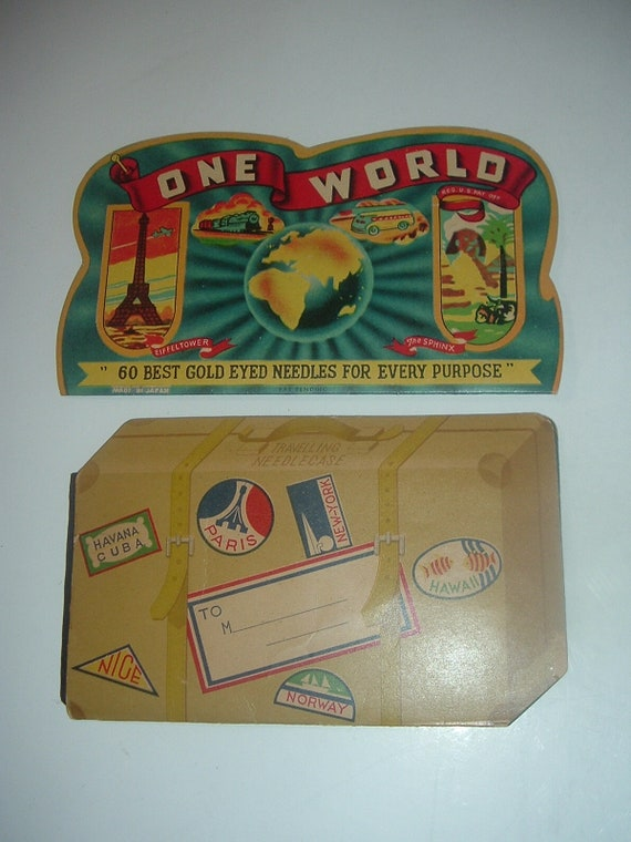 Sewing Needlebooks One World & Souvenir Suitcase 2 Vintage
