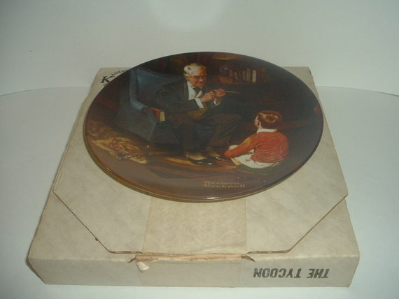 Edwin Knowles Norman Rockwell The Tycoon plate with box