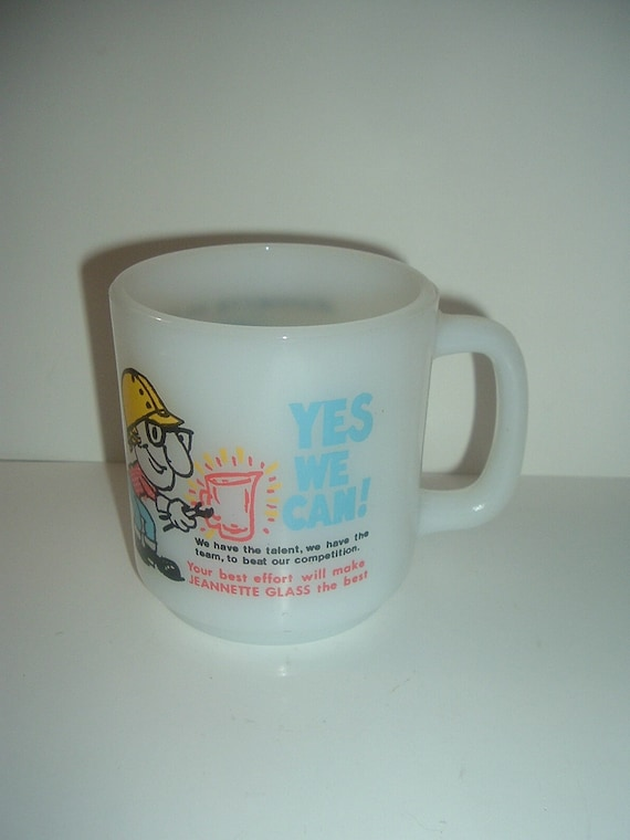 Jeannette Glass Glasbake Employee Yes We Can Mug