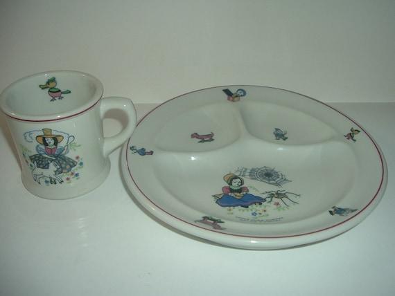 Shenango China Miss Muffet Mary Had A Lamb Childs Plate & Cup Mug