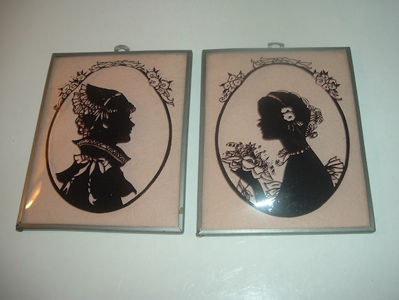Lady Silhouettes Reverse Painted on Convex Glass Vintage