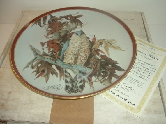 Coopers Hawk Majestic Birds of Prey Plate w/ Box and COA 1983 Hamilton collection