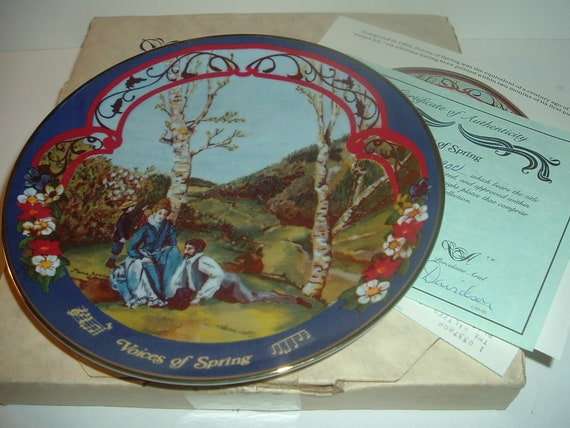 Voices of Spring Waltzes Johann Strauss Plate w/ Box and COA