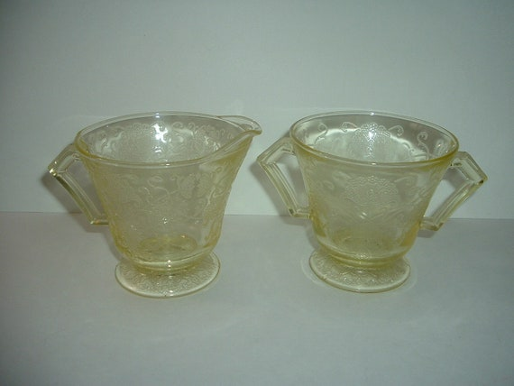 Hazel Atlas Florentine 2 Yellow Creamer and Open Sugar Depression Glass