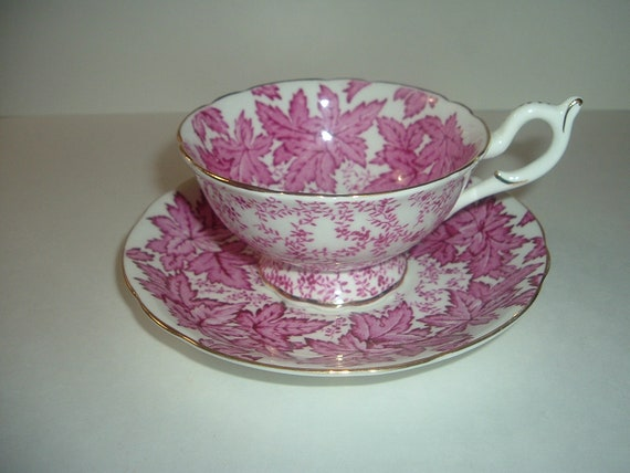 Coalport England Cup and Saucer Bone China Pink Leaves