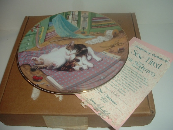 Hamilton Collection Sew Tired Little Shopkeepers Plate w Box COA