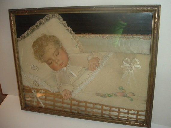 Baby Picture Paper Cloth and Hair Vintage Framed
