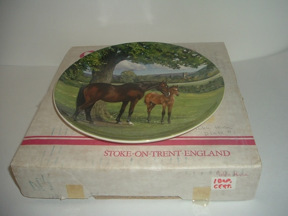 Spode The English Throoughbred Noble Horse Plate w Box COA 1988 1st Issue