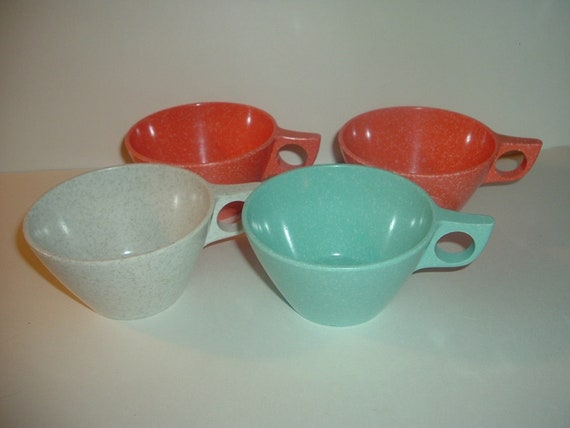 4 Texas Ware Melmac Cups