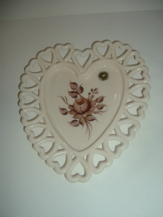 Westmoreland Almond Heart Dish Hand Painted Artist Signed Augustine 1980
