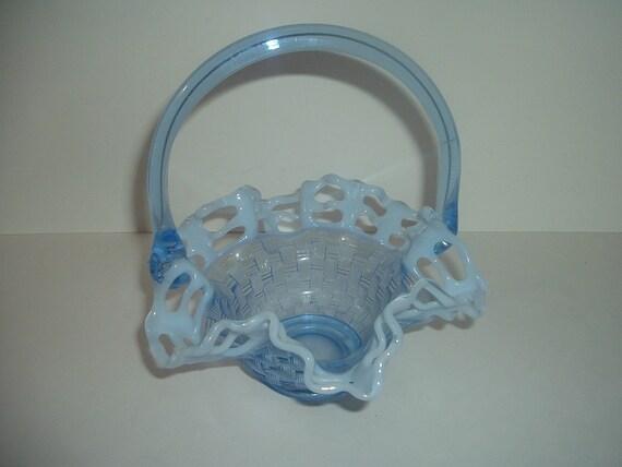 Blue Opalescent Glass Basket Weave Pattern Basket Vintage