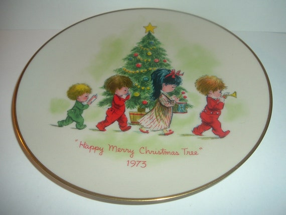 Moppets Christmas Tree Plate 1973 by Gorham China