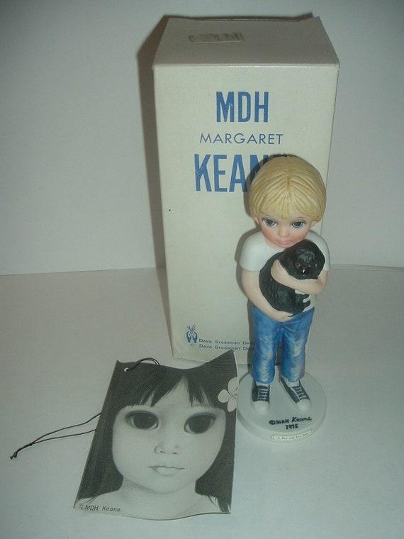 Dave Grossman Margaret Keane Big Eyed A Boy And His Dog Figurine in Box 1976