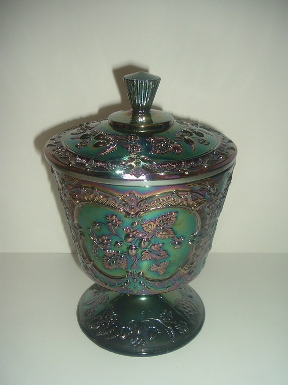 Fenton Carnival Glass Lidded Compote