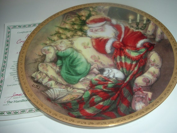 Not A Creature Was Stirring Lisi Martin Christmas Santa Plate w COA