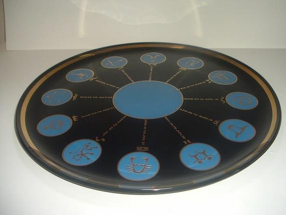 Mid Century Modern Glass Zodiac Tray