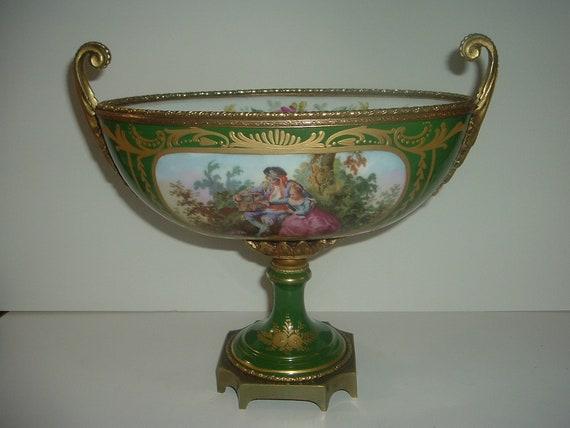 Antique Porcelain Portrait Footed Bowl with Metal Handles & Accents