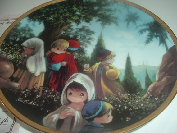 The Crucifixion Precious Moments Bible Story Plate Sam Butcher Hamilton Collection w COA